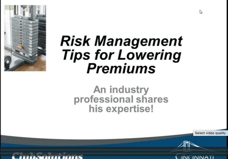 Webinar on risk management tips for lowering premiums.